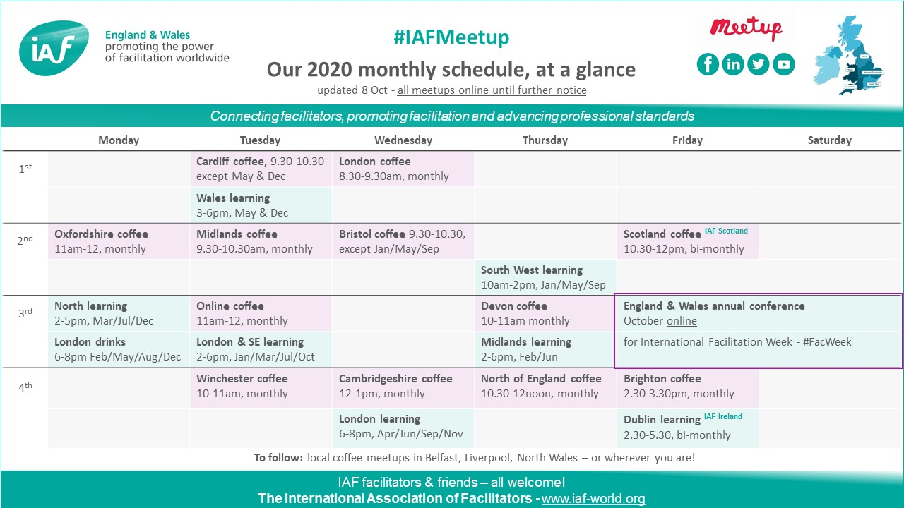 IAF England & Wales meetups at a glance
