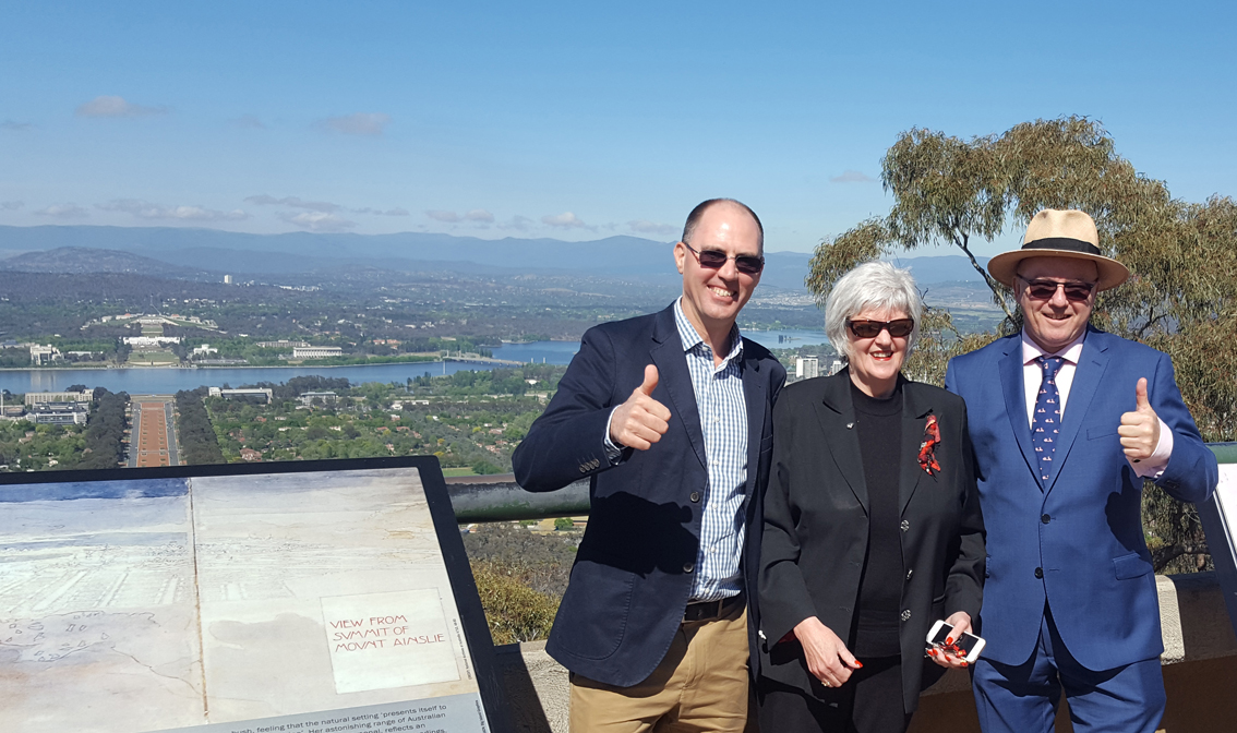 Martin Gilbraith, Rhonda Tranks and Nick Housego in Canberra 2017